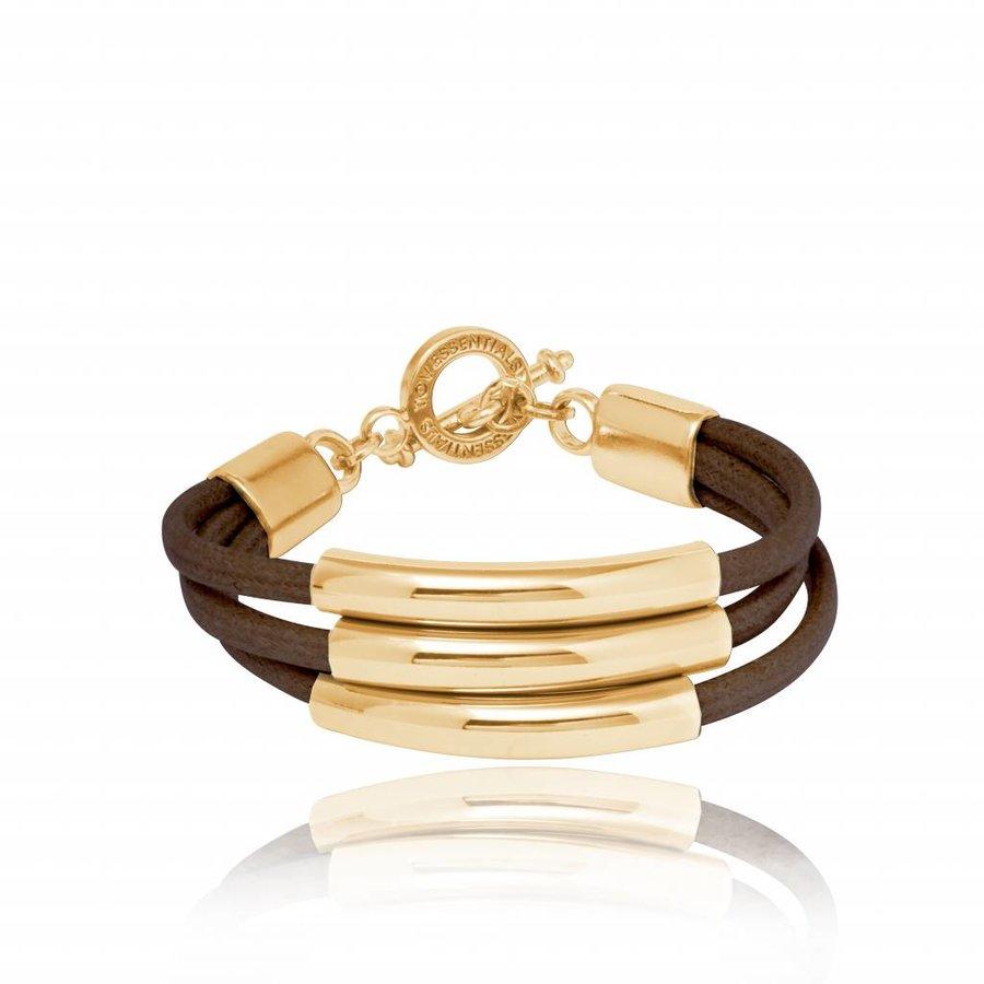 Three cord tube armband - Goud/ Donker bruin
