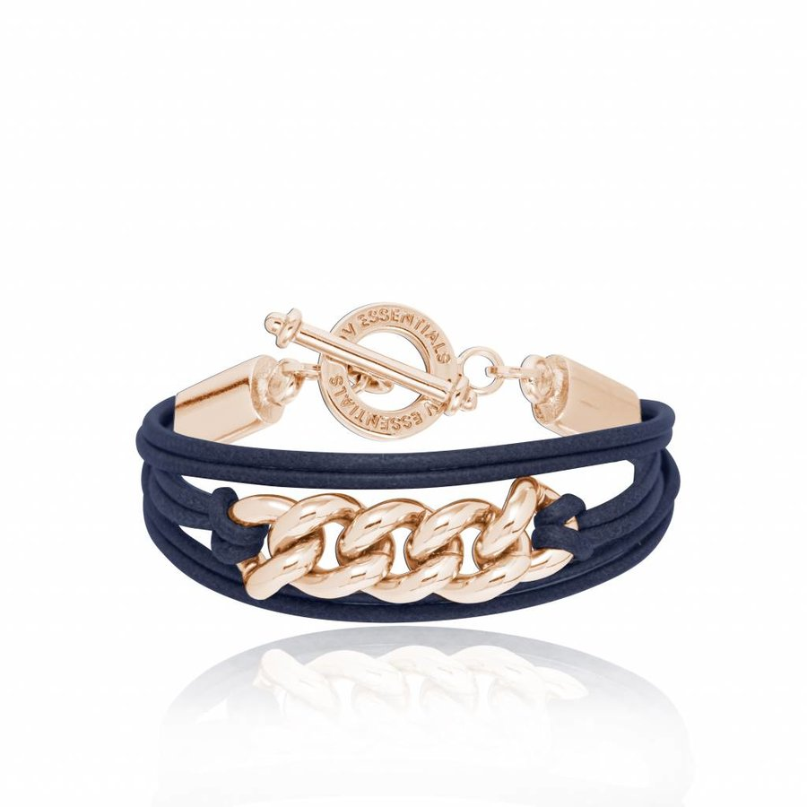 Lots of cords chain bracelets - Rose/ Navy
