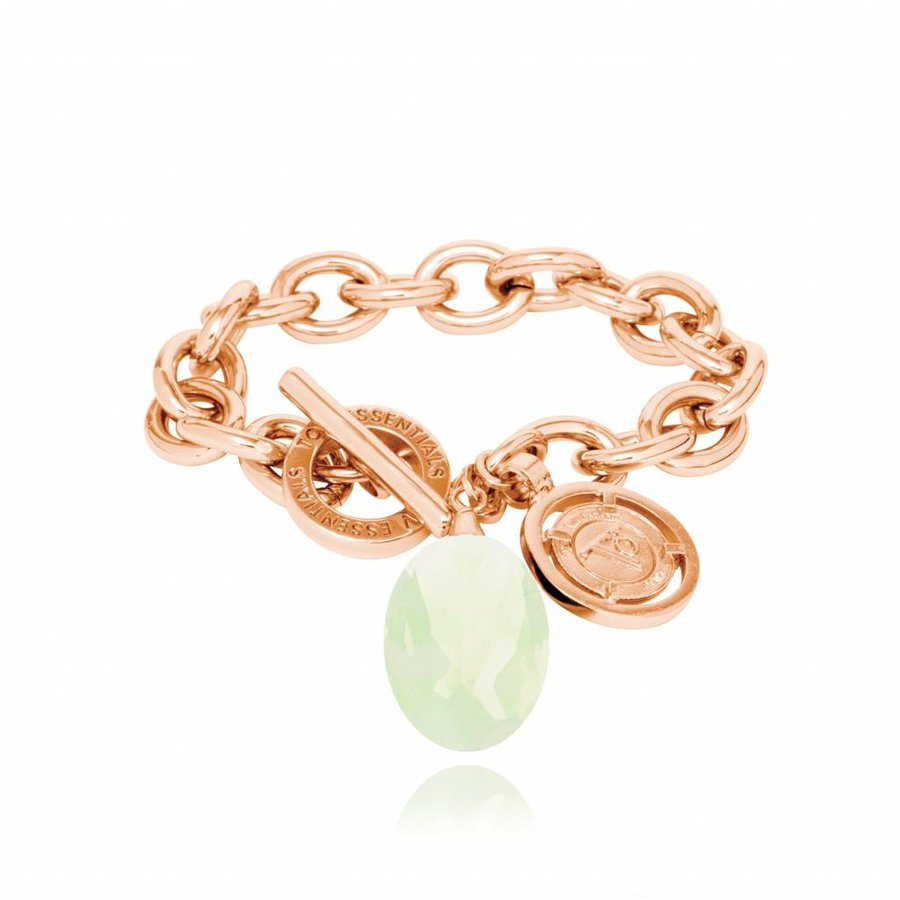 Pure stone round armband - Rose/ Limoen groen