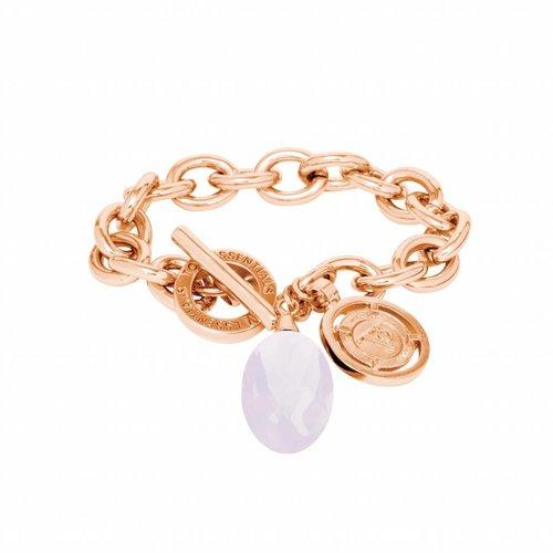 Pure stone round armband - Rose/ Rose quartz