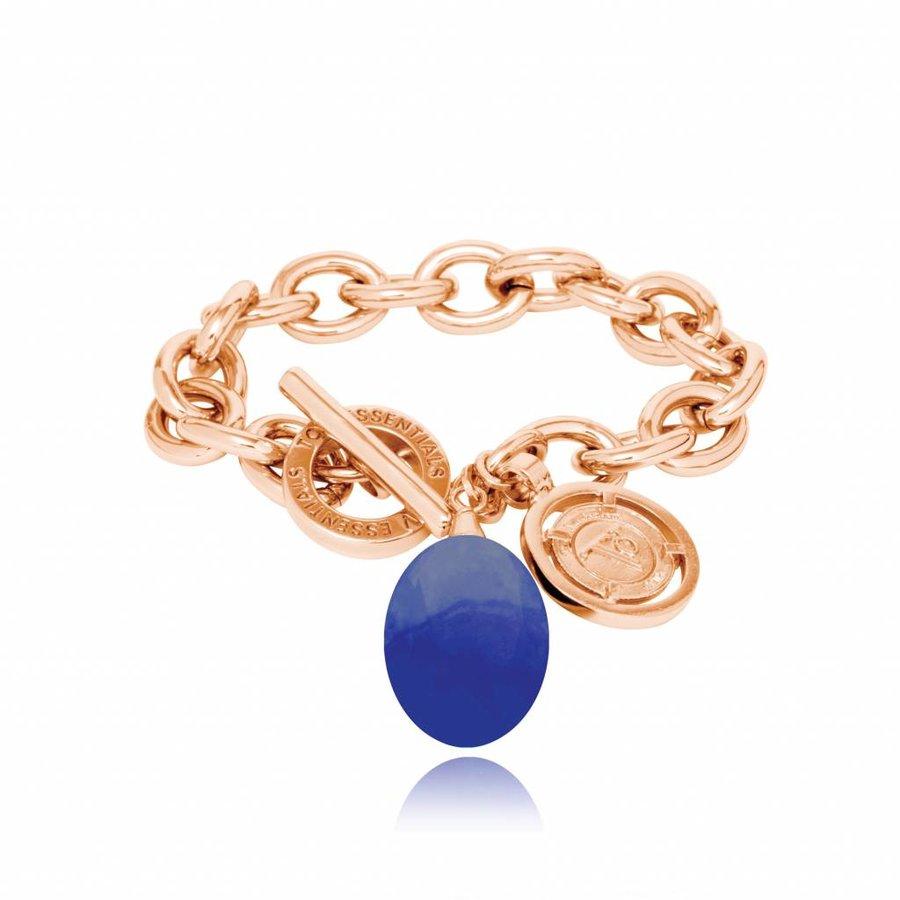 Pure stone round armband - Rose/ Cobalt