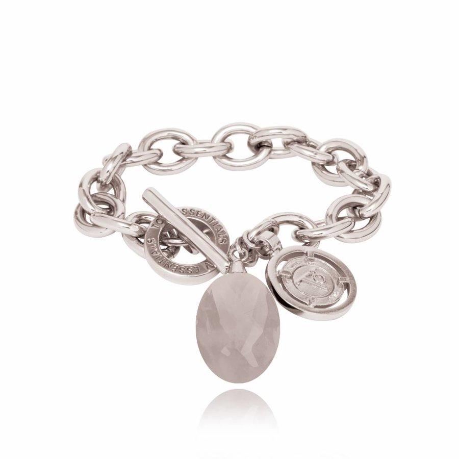 Pure stone round bracelet - Silver/ Grey quartz