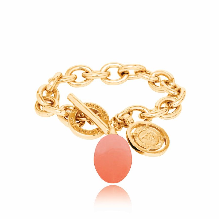 Pure stone round bracelet - Gold/ Coral