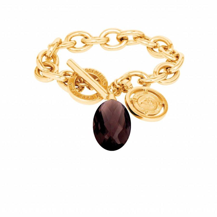 Pure stone round bracelet - Gold/ Smoke quartz