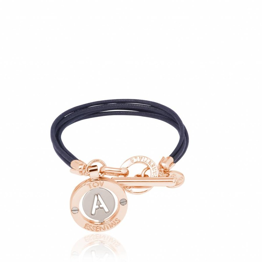 Cord bracelet with setting - Rose/ Navy