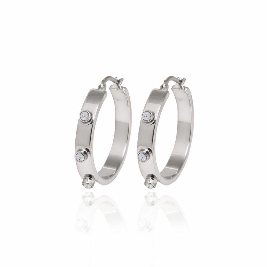 Stone oorbellen- Zilver/ Zwart diamond