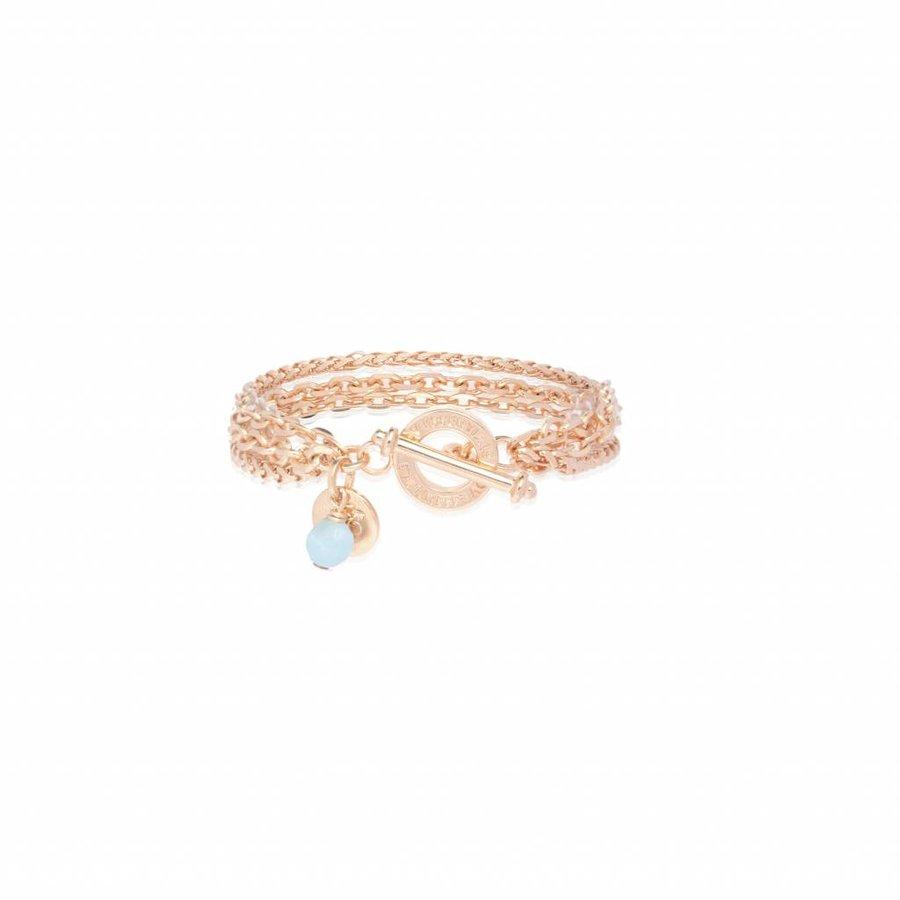 Mini 3 chain armband - Rose/ Aquamarine
