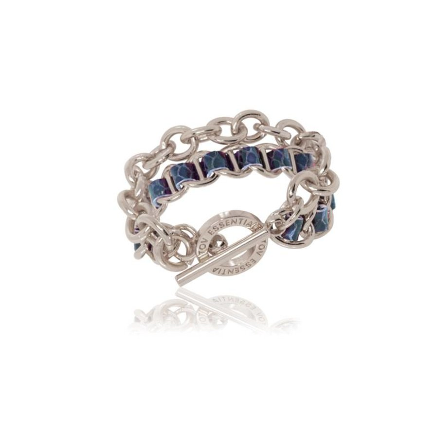 Leather double chain bracelet - Silver/ Blue