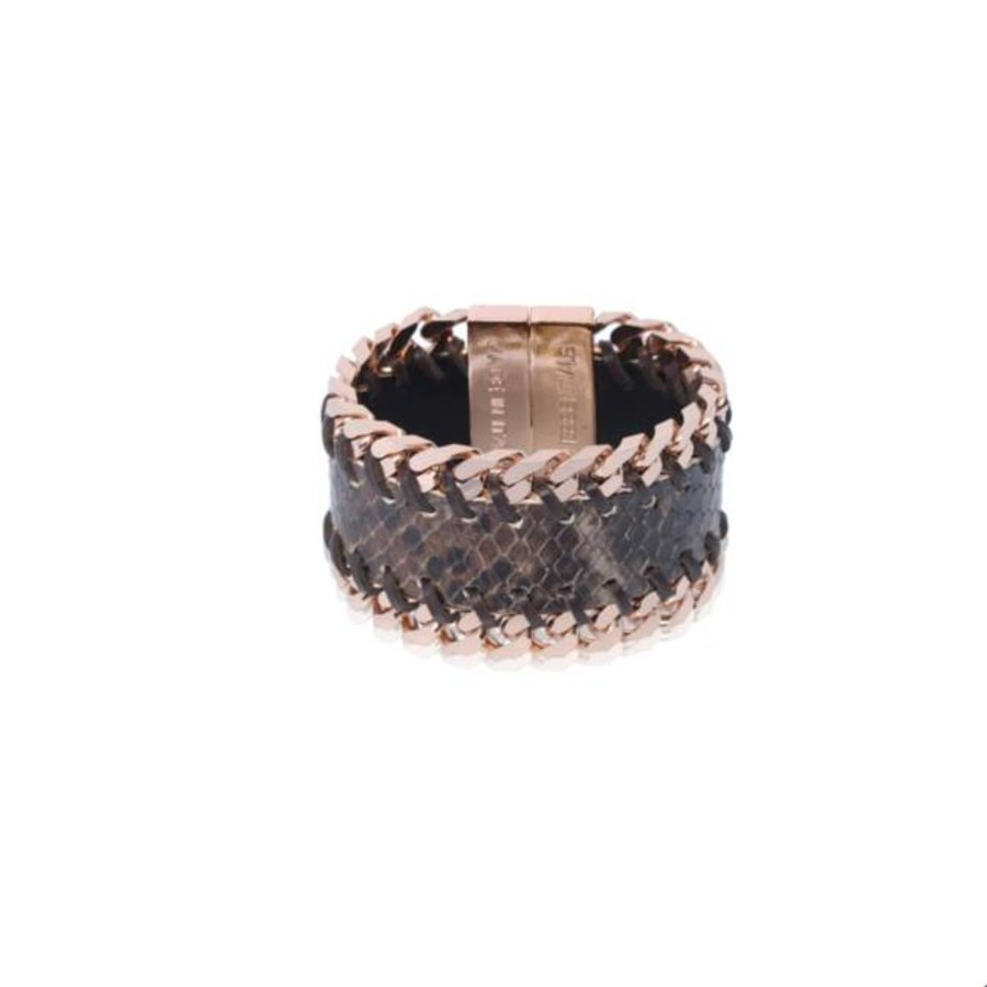 leather double chain bracelet - rose / brown python
