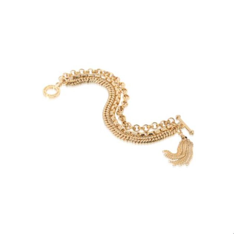 3 Chain tossel armband - Goud