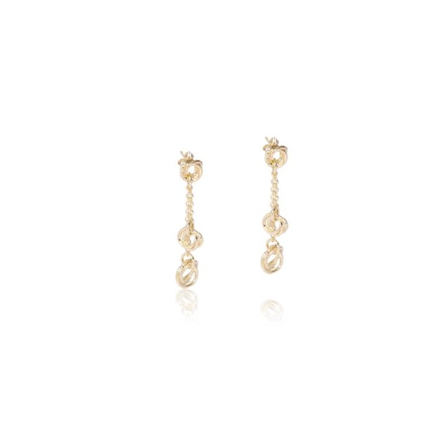 Tri rings oorbellen - Champagne goud