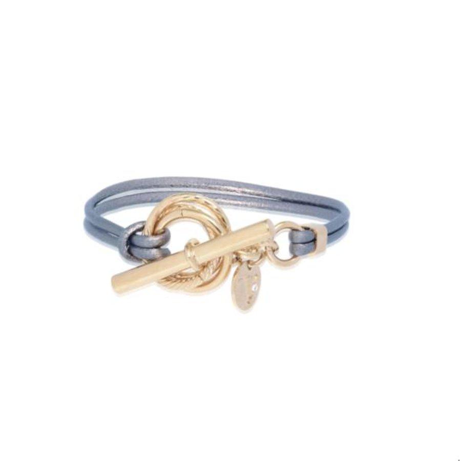 Metalic armband - Champagne goud/ Blue metallic