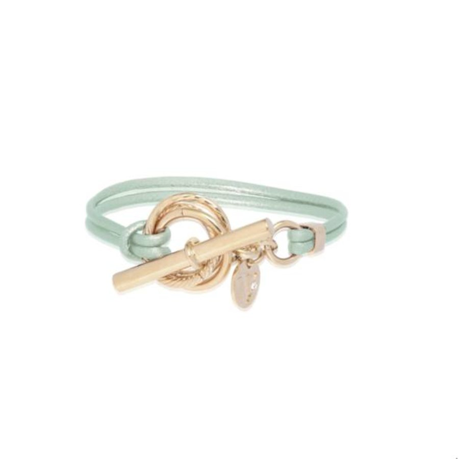 Metallic armband - Champagne goud/ green metallic