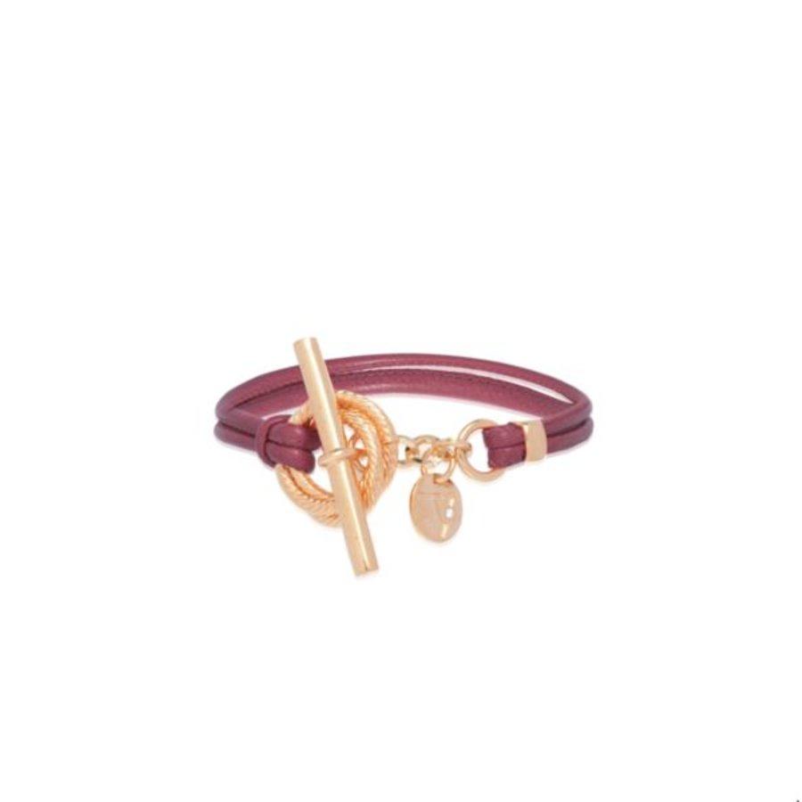 Tri rings leather  bracelet - Aubergine - rose gold