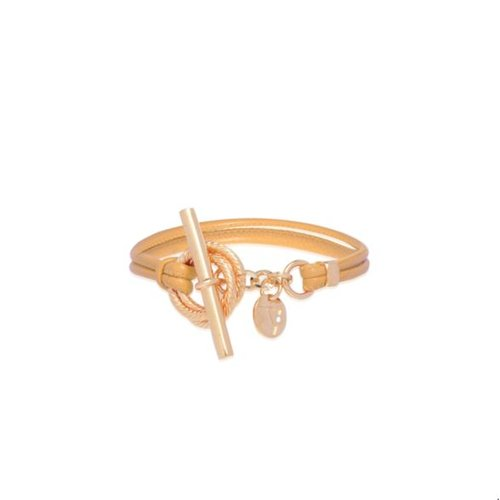 Tri rings lederen armband - Rosé/ Ivory