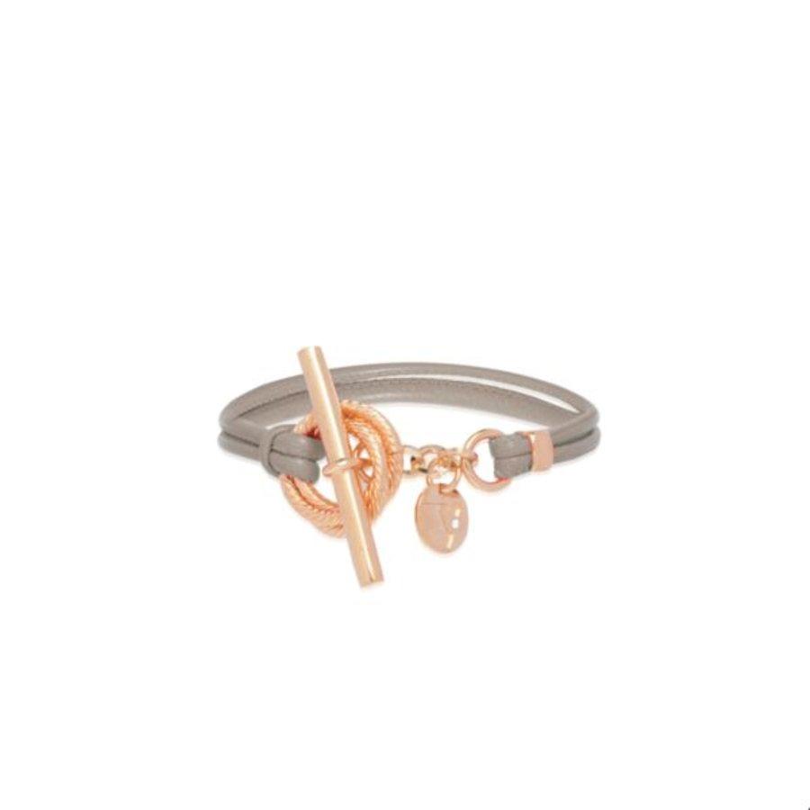 Tri rings leather Armband - Rosé/ Grijs