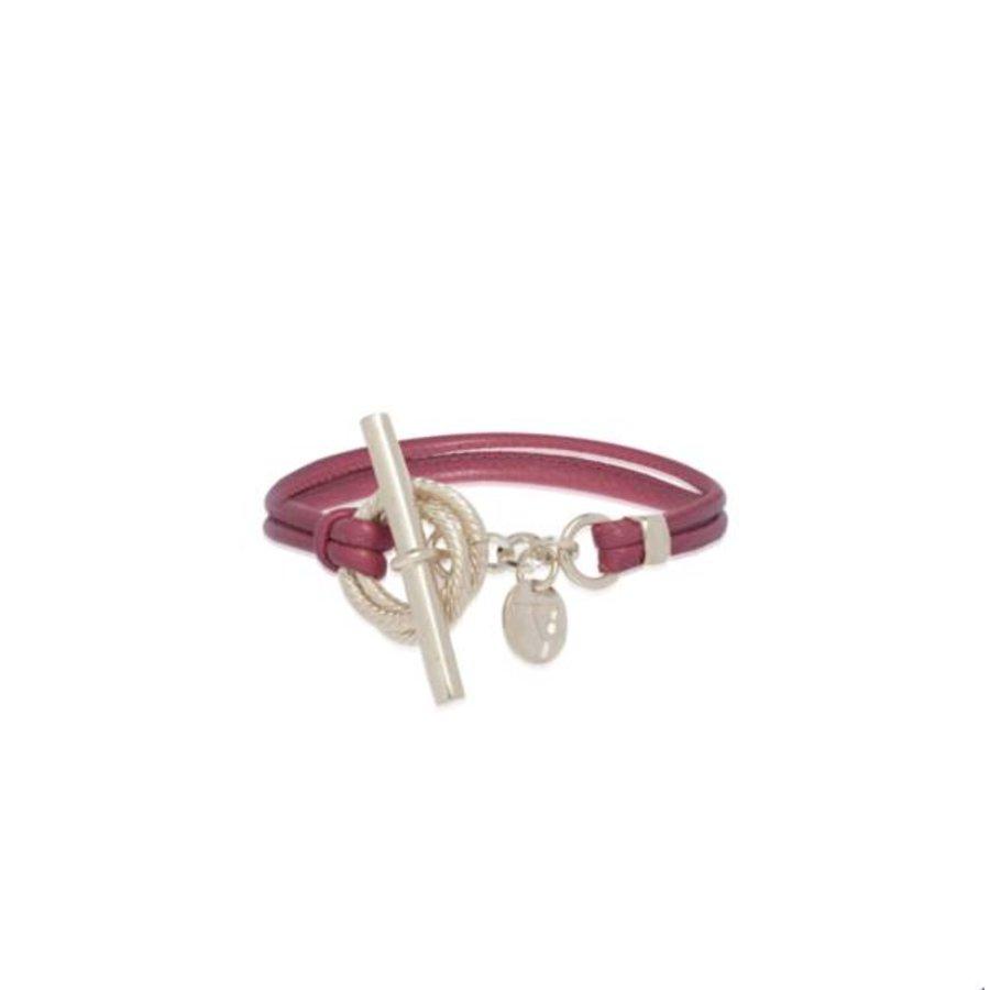 Tri rings lederen Armband - Zilver/ Aubergine