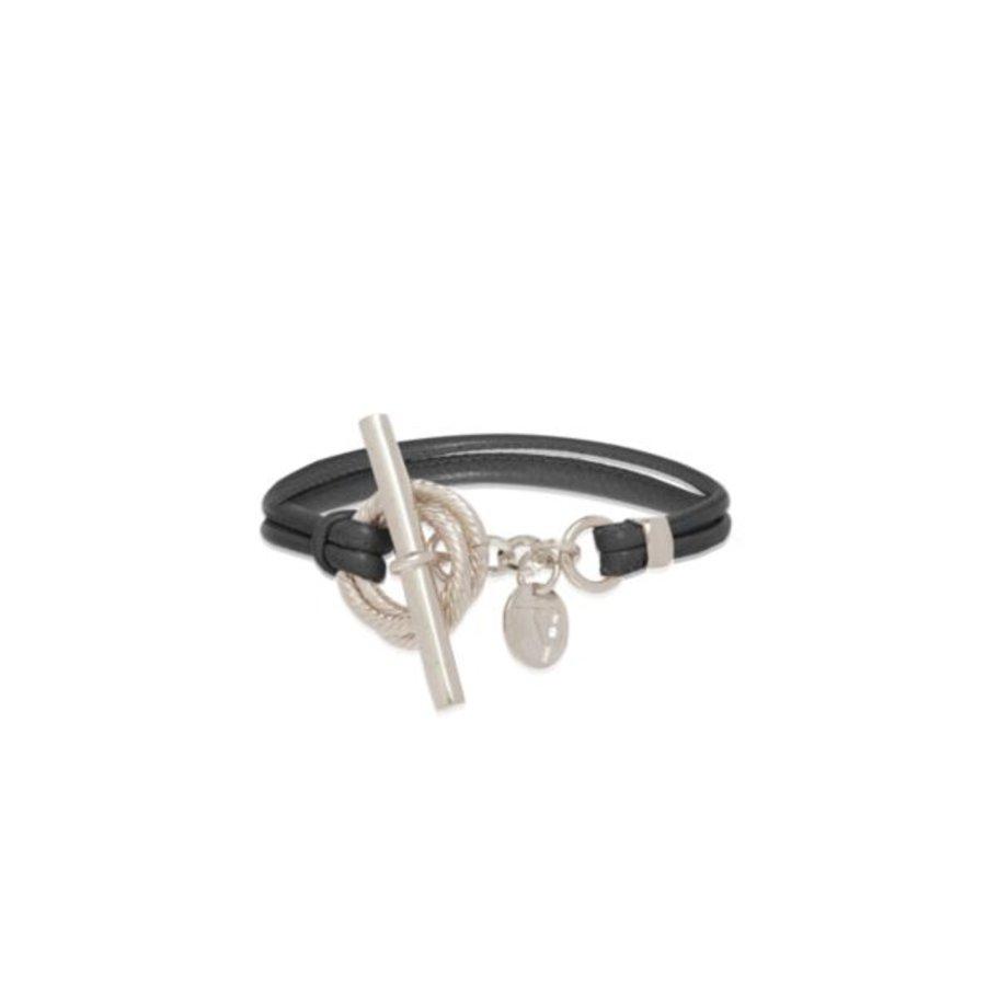 Tri rings lederen armband - Zilver/ Zwart