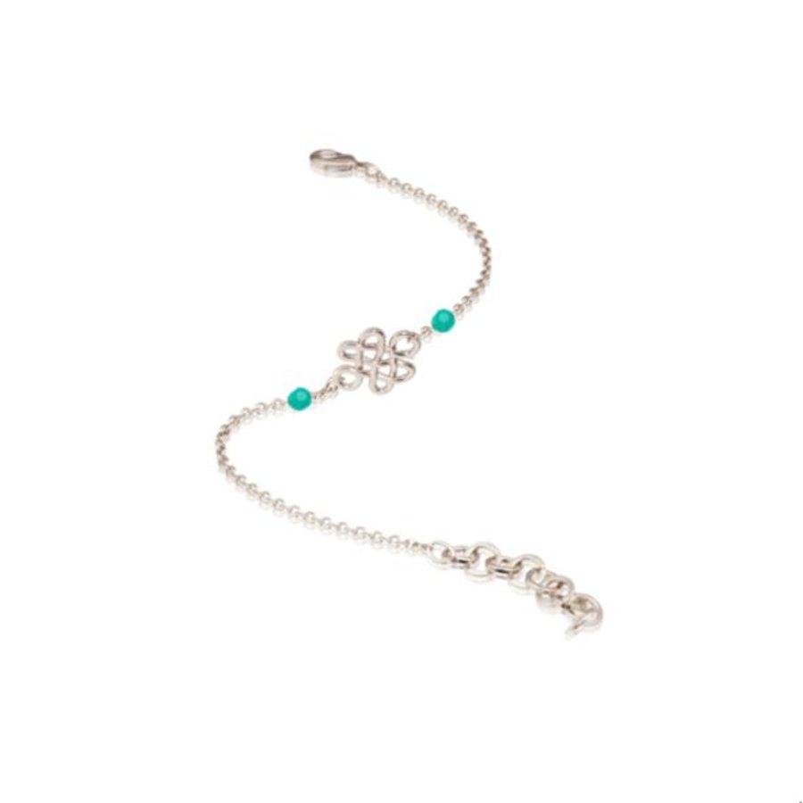 Infinity knot multi bracelet - Silver/ Mint green