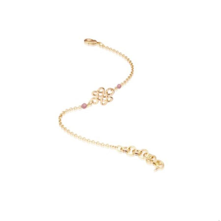 Infinity knot multi bracelet - Gold/ Rose quartz