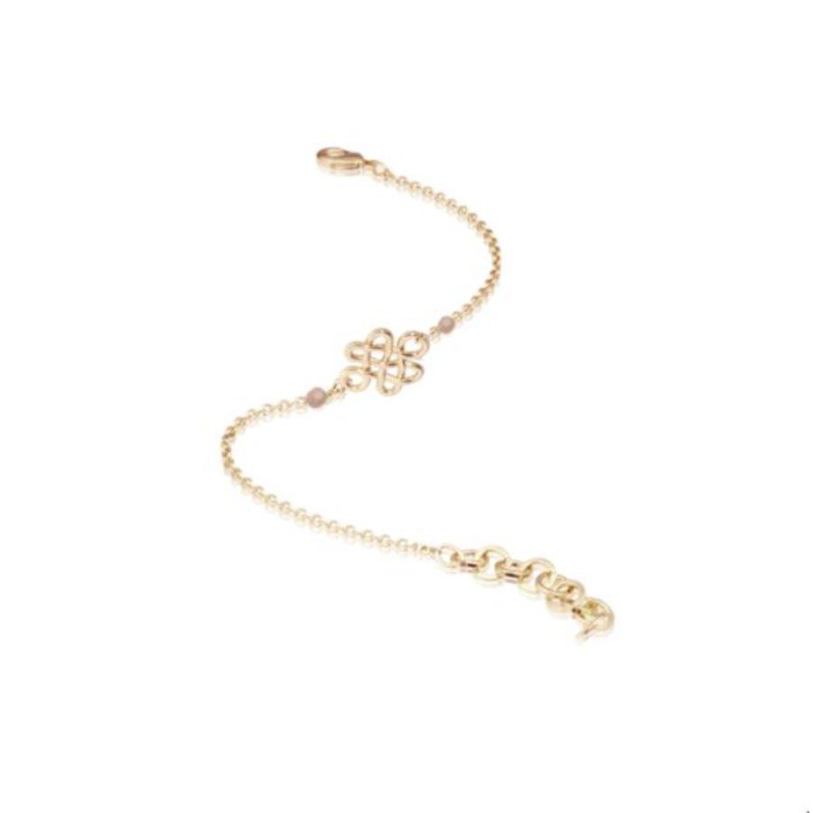 Infinity knot multi - Armband - Champagne goud/ Zand opaal