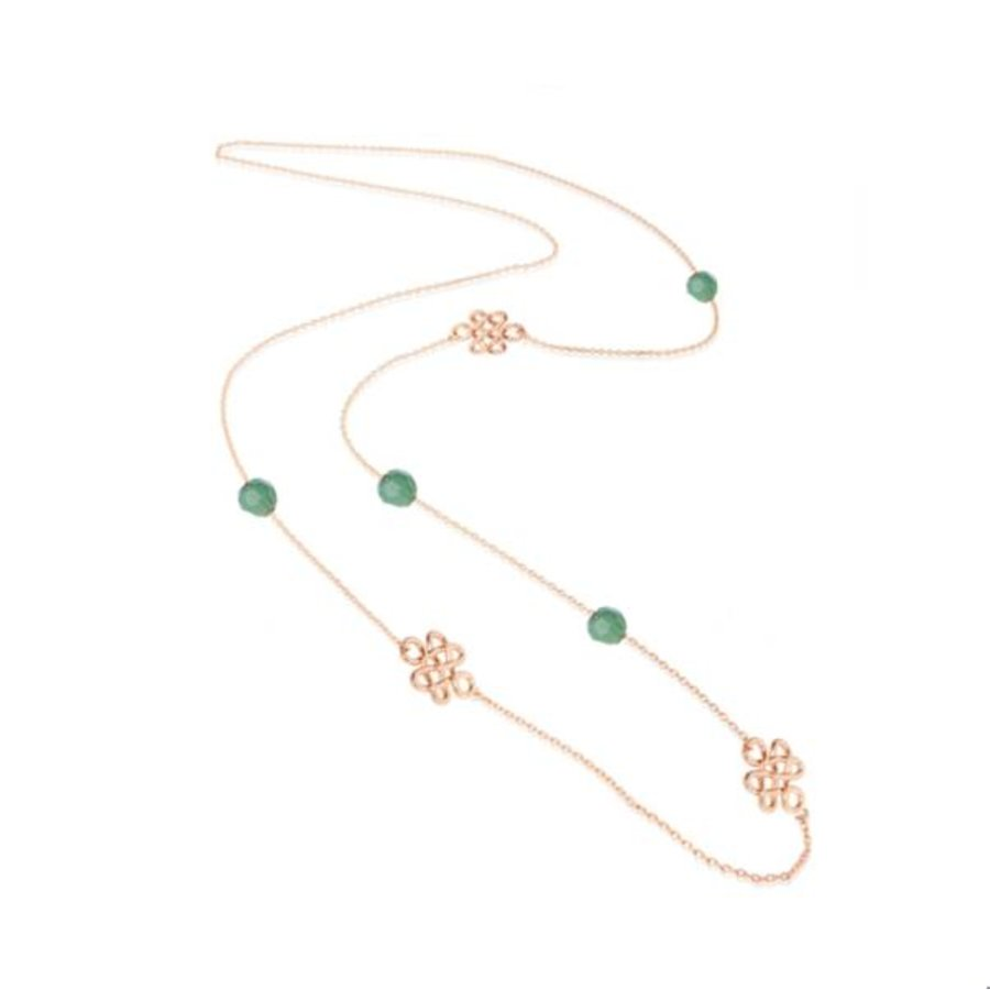 Infinity knot multi necklace - Rose/ Smaragd