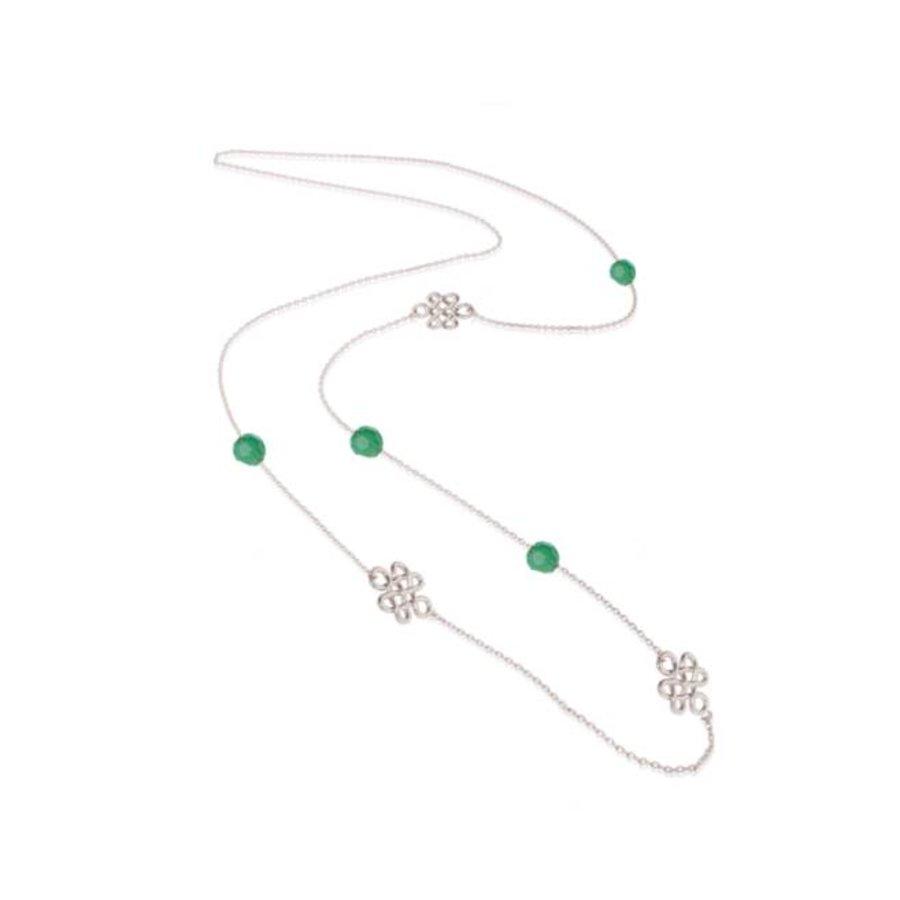 Infinity knot multi ketting - Zilver/ Mintgroen