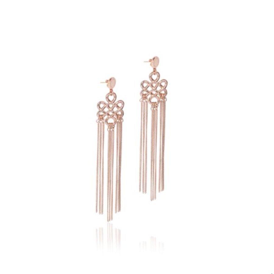 Infinity knot tossel earrings - Rose