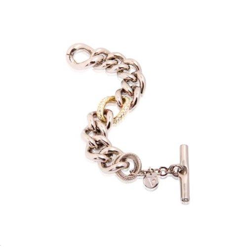 Bi colour middle strass link armband - Zilver/ Goud