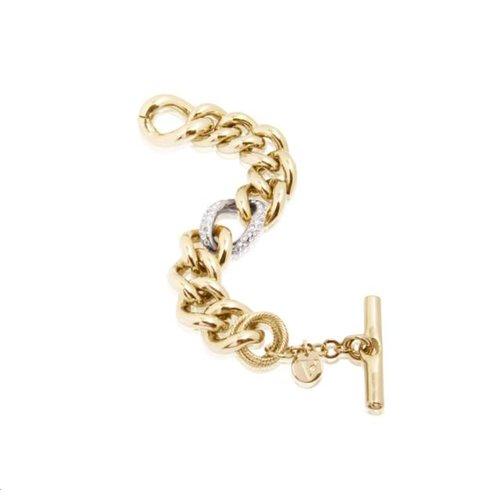 Bi colour middle strass link armband - Goud/ Zilver