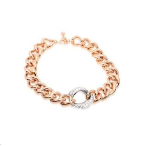 Bi colour middle strass link ketting - Rose/ Zilver