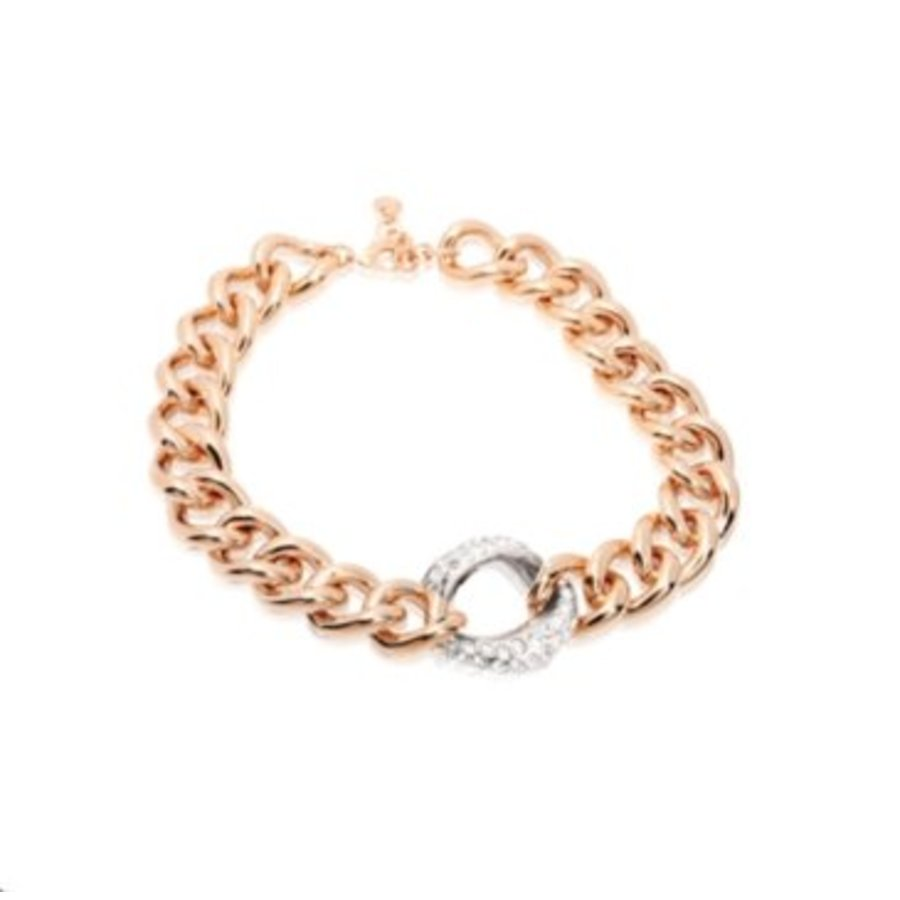 Bi colour middle strass link collier - Rose/ Silver