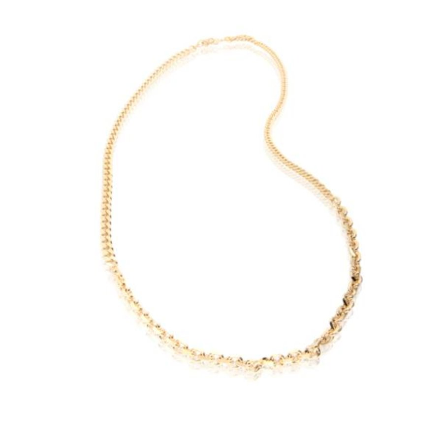 3 Types of chain long Necklace - Gold
