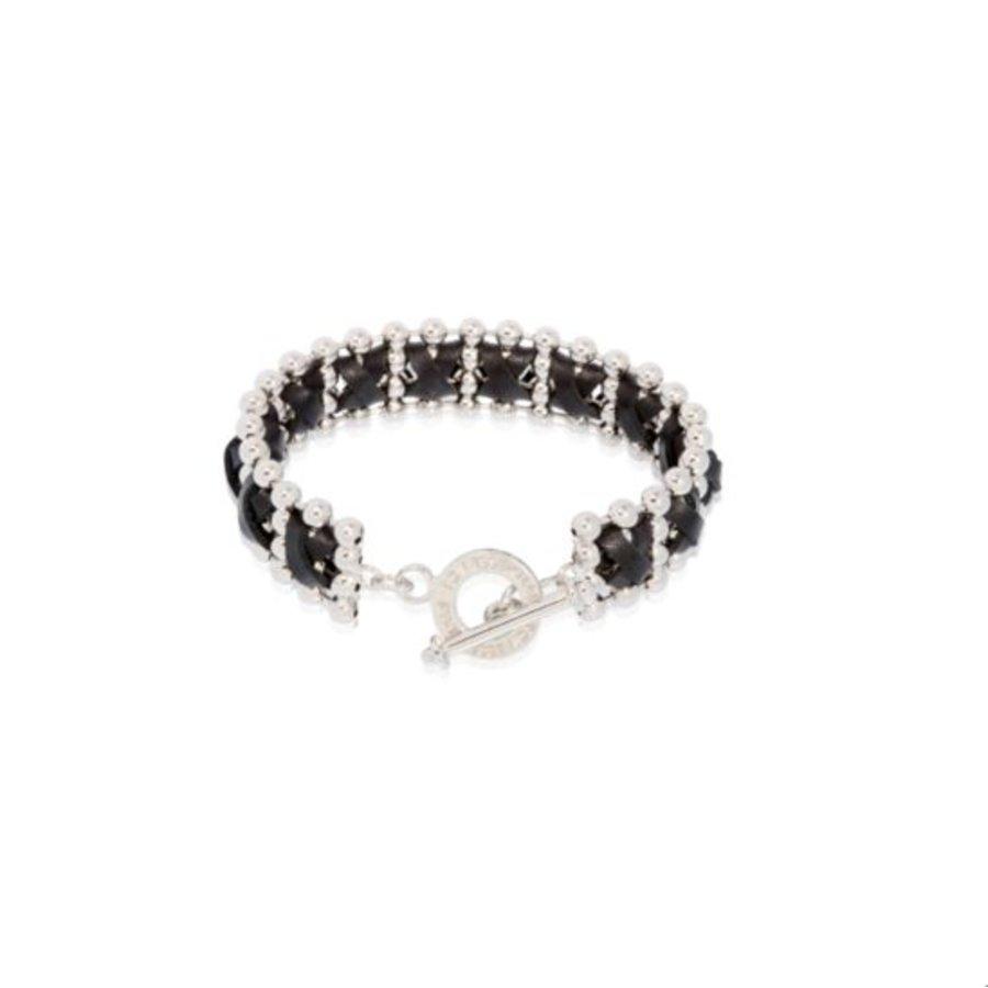 Cross leather ball chain armband - Zilver/ Zwart