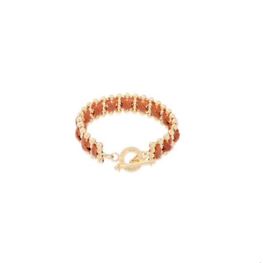 Cross leather ball chain bracelet - Gold/ Cognac