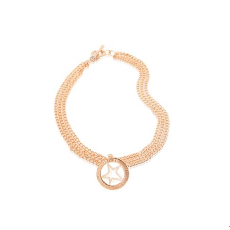 Medaillon big - multi chain ketting - Rosé/ Ster pendant