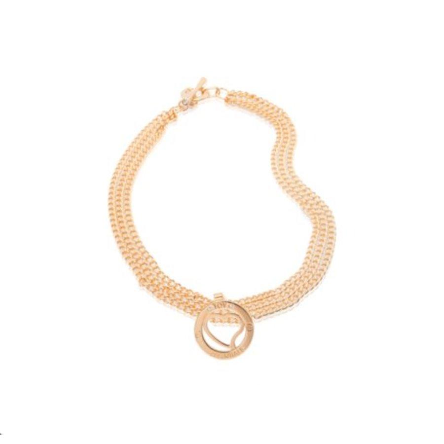 Medaillon big - multi chain - Rose/ Heart pendant
