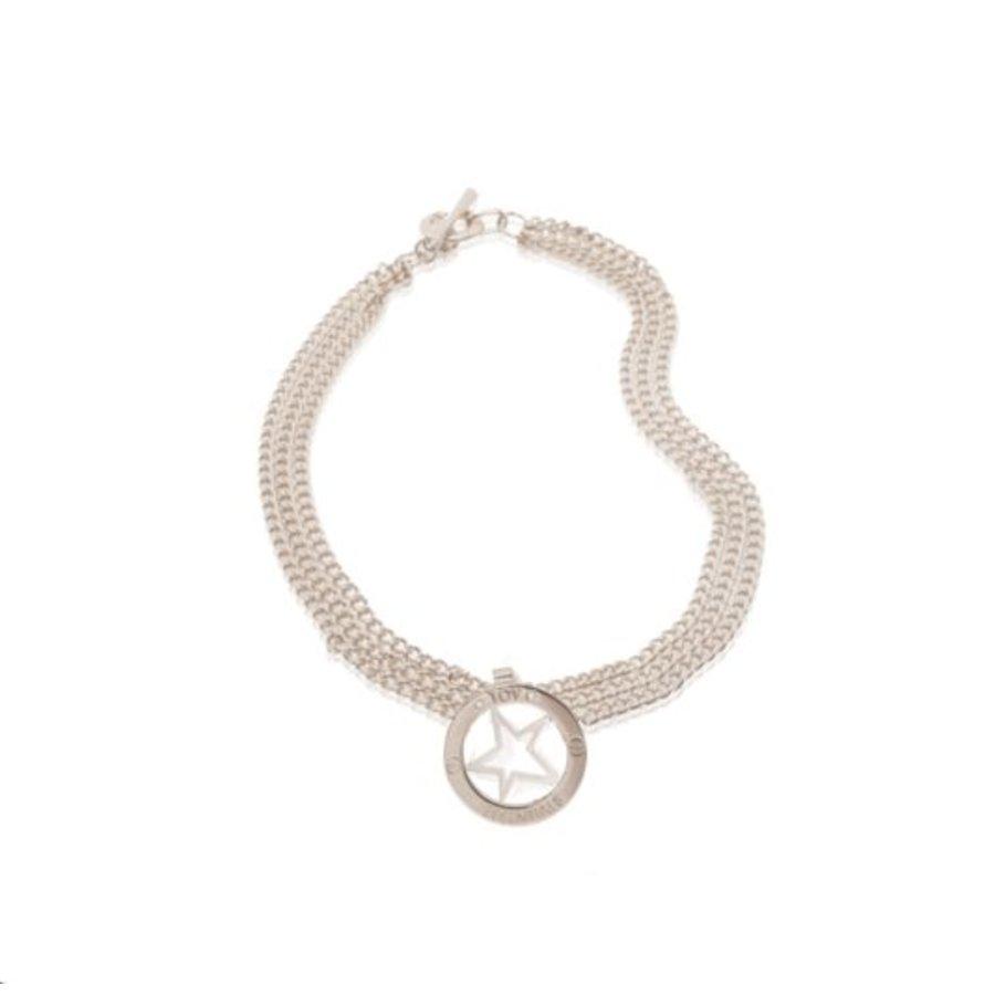 Medaillon big - multi chain ketting - Zilver/ Ster pendant