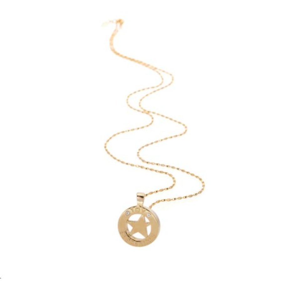 Medaillon small 85 cm ketting - Goud/ Ster pendant