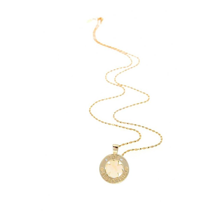 Medaillon small 85 cm necklace - Gold/ 4leaf pendant