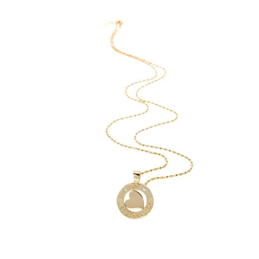 Medaillon small 85 cm ketting - Goud/ Hart pendant