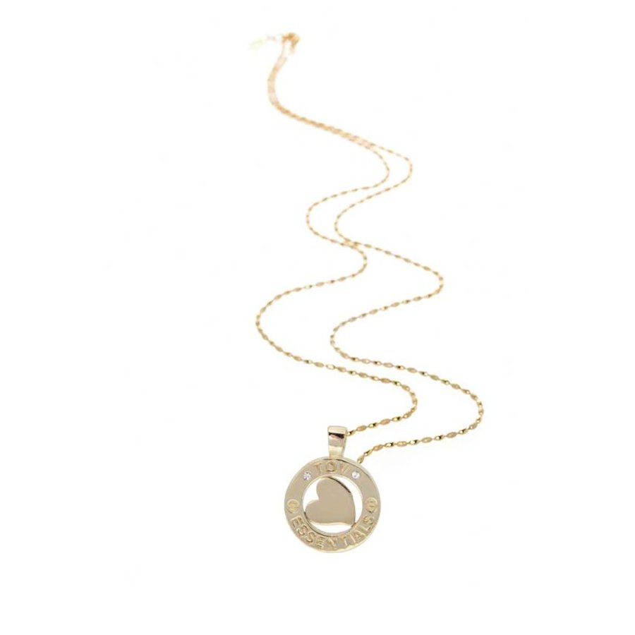 Medaillon small 85 cm ketting - Champagne goud/ Hart pendant