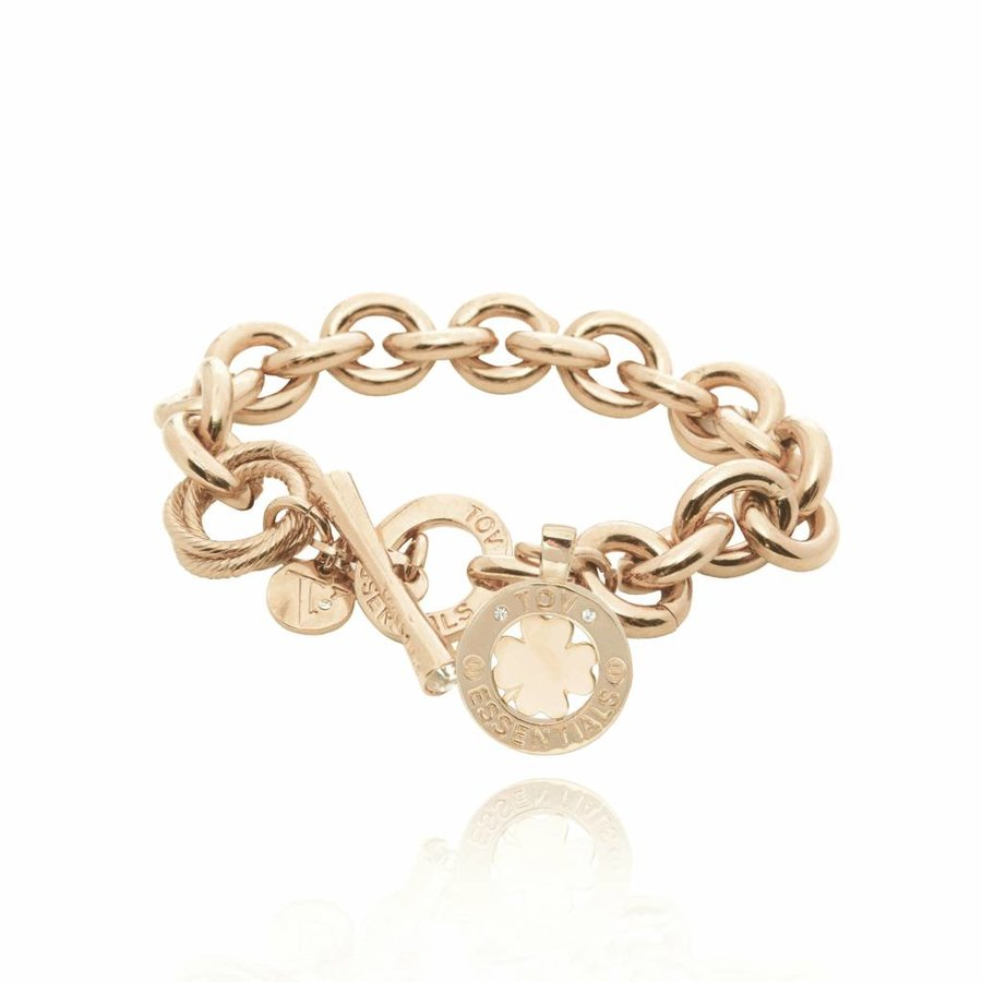 Medaillon small round gourmet armband - Champagne/ Klavervier pendant