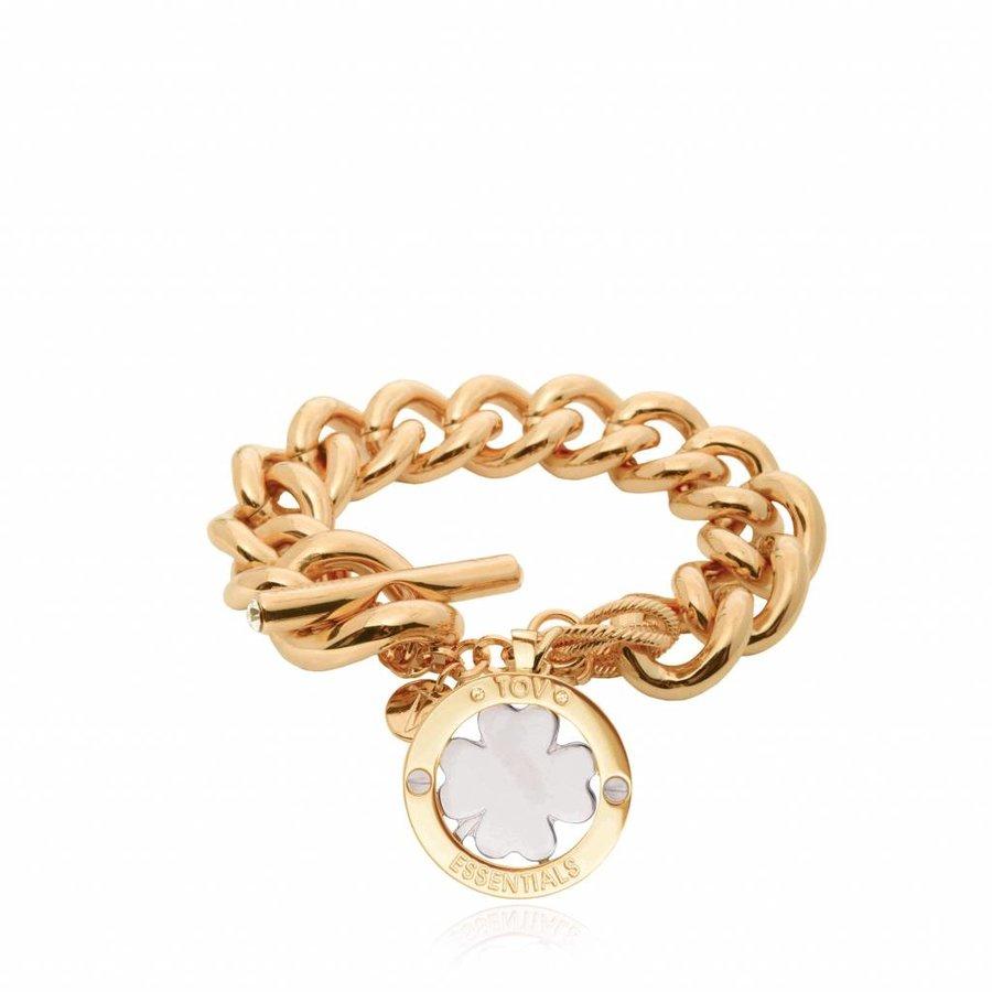 4leaf bi colour armband - Goud/ Zilver