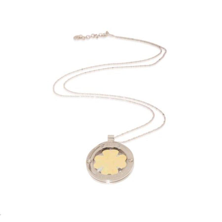 4 leaf bi-color medaillon ketting - Zilver/ Goud