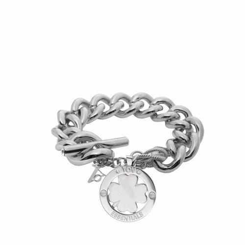 Medaillon armband - Wit goud/ Klavervier pendant