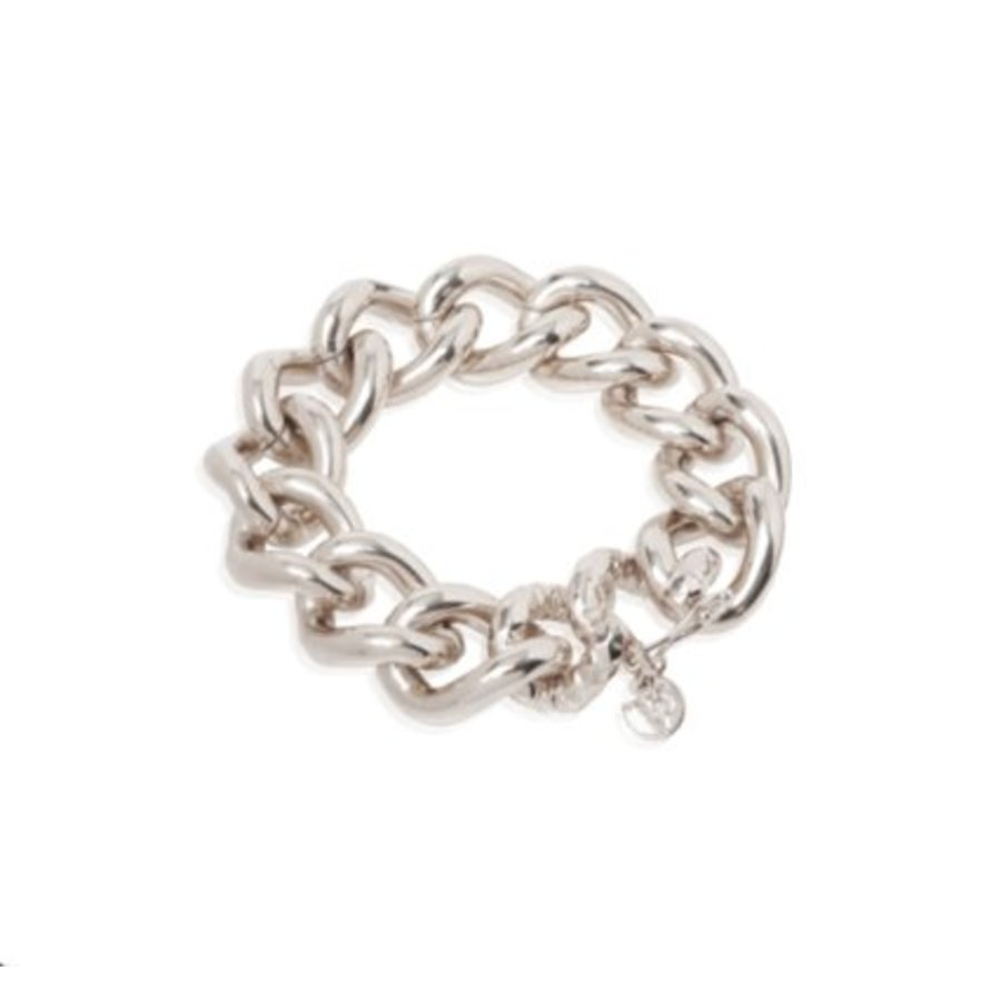 Hammered & plain gourmet armband - Zilver
