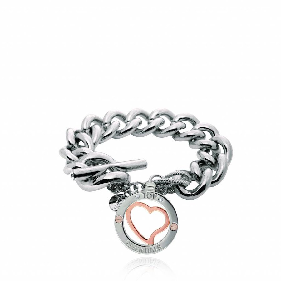 Heart bi color tri bracelet - White gold/ Rose