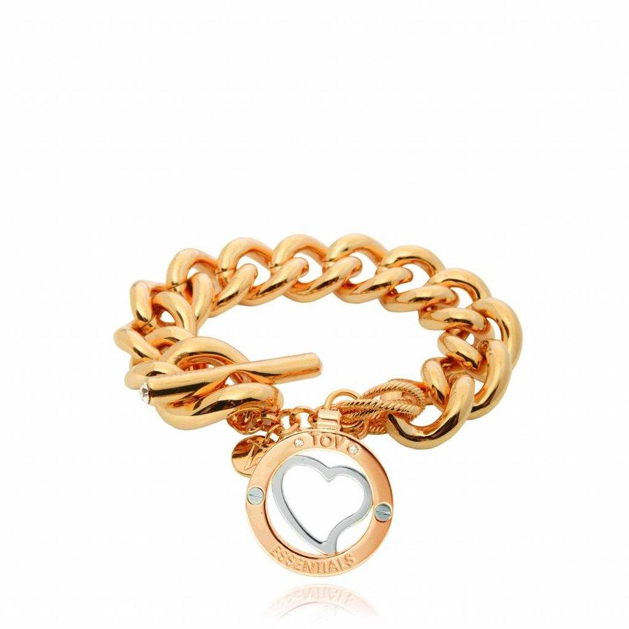 Heart bi colour tri bracelet - Gold/ Silver