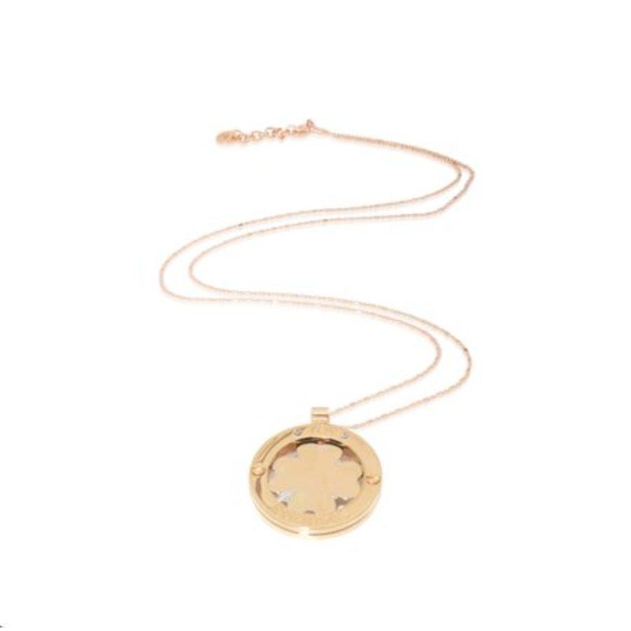 Medaillon 85cm necklace - Rose/ 4leaf